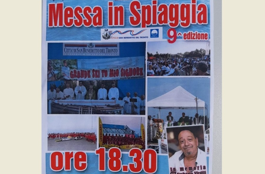 Don Catani celebra la Messa in spiaggia per il turista, in memoria di Umberto Virgili